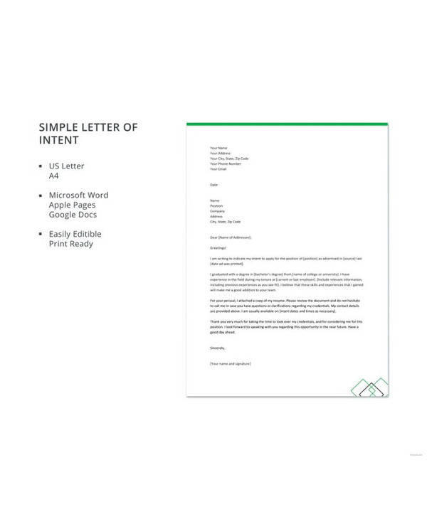 57+ Letter of Intent Examples