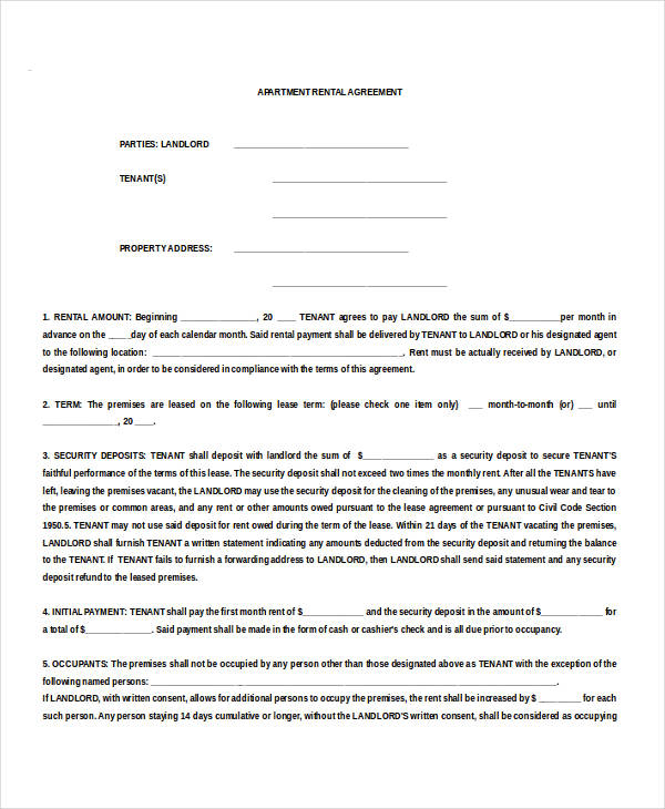 Apartment Tenancy Agreement Template