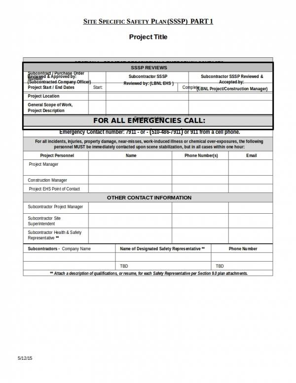 safety plan construction template