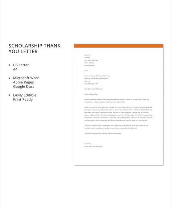 13+ Sample Scholarship Thank You Letters