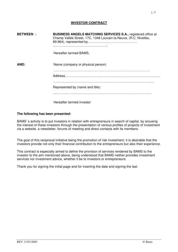 Company Investor Agreement Investors Agreement Template 10music