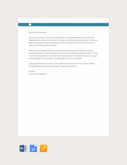 FREE 8+ Sample Resignation Letters for Personal Reasons in PDF | MS Word | Pages | Google Docs