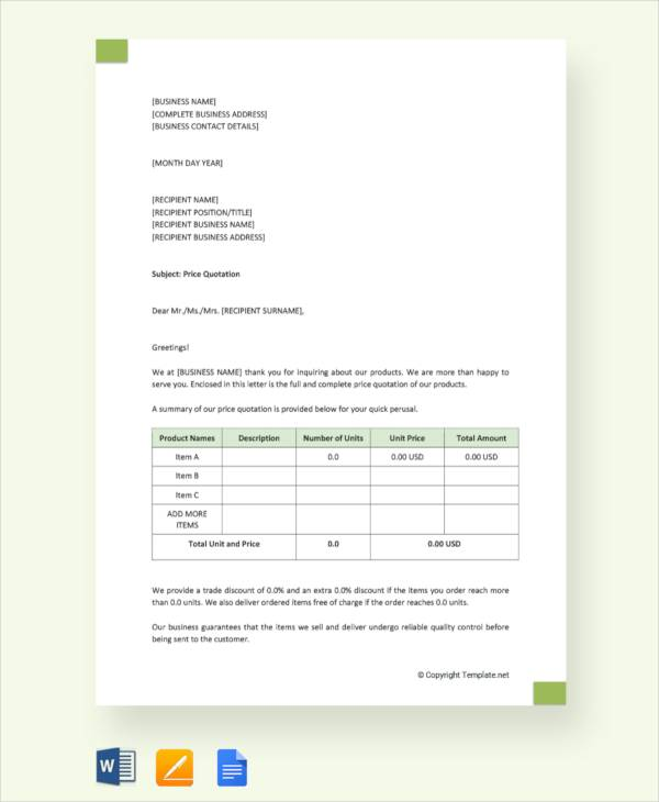 Free 30 Sample Quotation Letter Templates In Pdf Ms