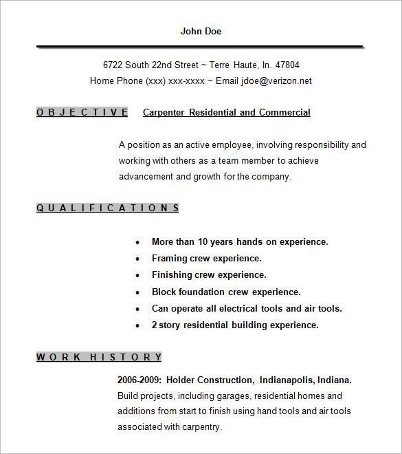 20+ journeyman carpenter resume samples to customize for your. Free 9 Carpenter Resume Samples In Pdf Ms Word
