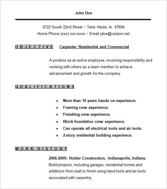 commercial carpenter resume examples