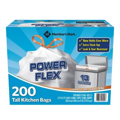tall kitchen bags dish rack member s mark power flex drawstring trash 13 gallon 2 rolls of
