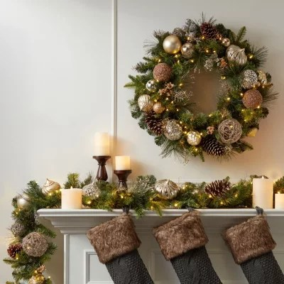 Members Mark 32 Pre Lit Decorated Wreath Gold Sams Club