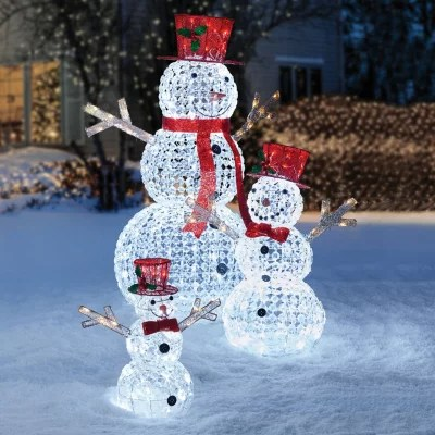 Members Mark Crystal Beaded Twinkling Snowman Family Set