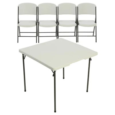 lifetime chairs and tables retro chair stool 34 card table 4 combo white sam s club