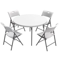 Lifetime Chairs And Tables Dining Room Loose Chair Covers Combo 48 Round Fold In Half Commercial Grade Table