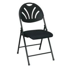 Folding Chair Fabric Rustic Pub Table And Chairs Work Smart With Plastic Fan Back Seat Black 4 Pack