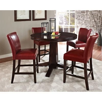 red counter height dining chairs home theatre harding set 5 pc leather