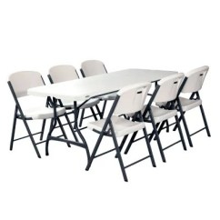 White Table Chairs Rubber Chair Leg Protectors Lifetime Combo 6 Commercial Grade Folding And