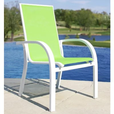 stacking sling chairs patio armchair pillow aluminum chair - green sam's club