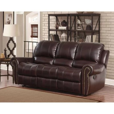 reclining sofa leather brown repair sleeper frame bentley top grain sam s club