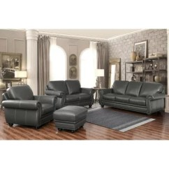 Set Of Leather Sofas Jennifer Convertible Sofa Bed Kassidy Top Grain Loveseat Armchair And Ottoman 4 Piece