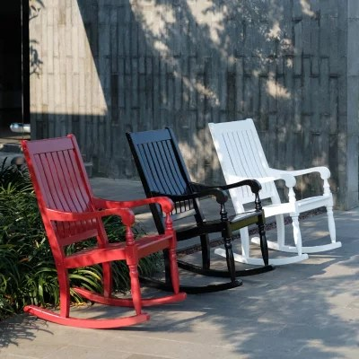 black rocking chairs diy adirondack chair cushions solid wood porch rocker sam s club
