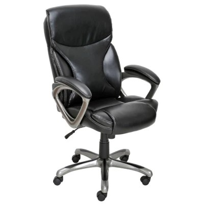 True Innovations  Bonded Leather Manager Chair  Black