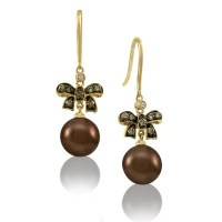 Chocolate Pearl & Chocolate Diamond Drop Bow Earrings ...
