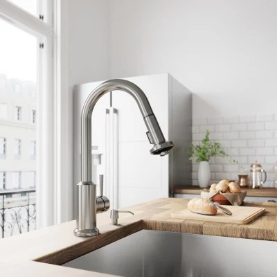 vigo kitchen faucet why are cabinets so expensive pull out spray stainless steel finish sam s club