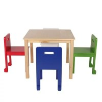Max & Lily Square Table, Natural + Toddler Chairs (Blue ...