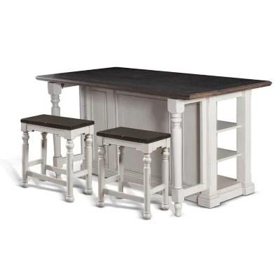 kitchen island set coastal table cottage with backless stools 3 pc sam s club