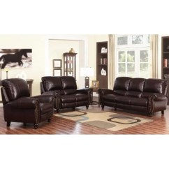 3pc Recliner Sofa Set Table Against Wall Taylor Top-grain Leather Reclining Sofa, Loveseat And ...