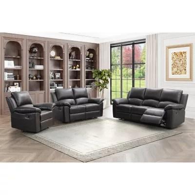 fairfax 3 piece top grain leather reclining living room set furniture sets terranova sofa loveseat and armchair