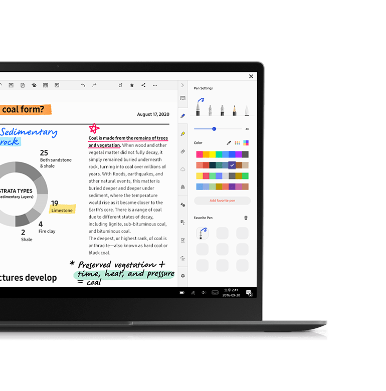 Samsung Notes auto syncs to your laptop so you can continue working on another device