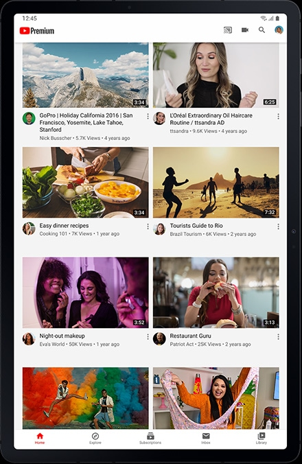 YouTube's main page on Galaxy Tab S7+ shows a variety of videos you can watch or listen to for free