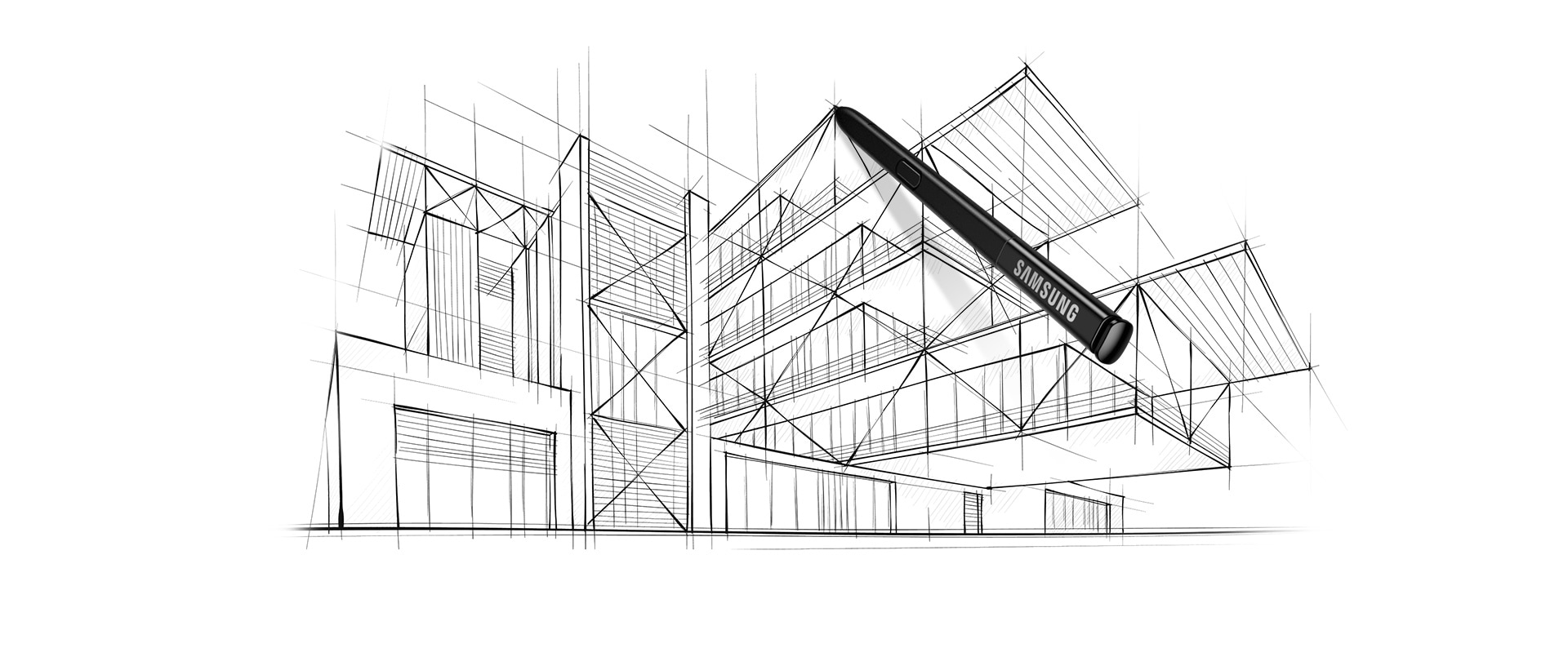 medium resolution of image of a s pen over an architectural line drawing