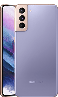 EASTERN REGIONAL HEALTH AUTHORITY (ERHA) VACANCY, Two Galaxy S21 Plus 5G phones in Phantom Violet, one seen from the rear and one seen from the front with a purple graphic wallpaper onscreen.