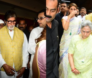 મુંબઇમાં પરિવાર સાથે દુર્ગા પંડાલ પહોંચ્યા અમિતાભ બચ્ચન, જુઓ PHOTOS
