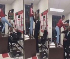 Video: વિદ્યાર્થીનીએ ટેબલ પર ચડી શિક્ષકને લાતો મારી, લાફો ચોડી દીધો, પછી…