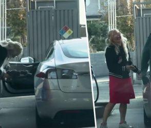 ટેસ્લા કારમાં ગેસ પુરવાનો 'કઠોર' પ્રયત્ન કરતી મહિલાનો આ વિડીયો પેટ પકડીને હસાવશે