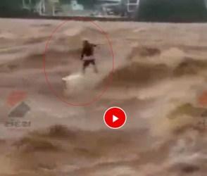 હાજા ગગડી જાય તેવા પાણીનાં પ્રવાહમાં આ વ્યક્તિએ કર્યું વૉટર સર્ફિંગ, જોઇલો વિડીયો