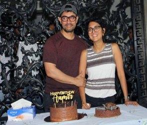 PHOTOS: આમિર ખાને કાપી બર્થડે કેક, પત્ની કિરણ સાથે આ રીતે કરી ઉજવણી