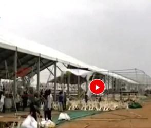 PM મોદીની રેલી પહેલા વરસાદે બગાડ્યો ખેલ, ભારે પવનમાં ઉડ્યો મંડપ, જુઓ વિડીયો