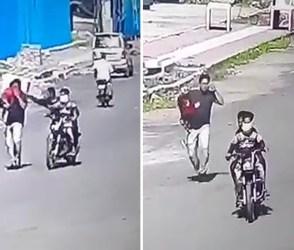 સુરતઃ ચેઈન સ્નેચર અછોડો તોડી ભાગ્યા, બાળકને તેડીને પિતા પાછળ દોડ્યા, જુઓ CCTV