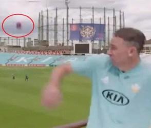 ઇન્ટરવ્યુ આપી રહ્યો હતો ક્રિકેટર, અચાનક પાછળથી આવ્યો બોલ પછી થઇ જોવા જેવી