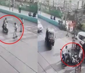 VIDEO: મેમો તો દૂર, હજુ સાઈડમાં ઉભો રાખે એ પહેલા જ બાઈક ચાલકે પોલીસને ઠોકી દીધી