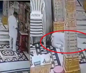 મોતનો લાઈવ વીડિયો CCTVમાં કેદ, પૂજારી ધૂપ આરતી કરતા હતા અને આવ્યો એટેક…!!