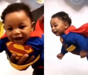 આ નાનકડું બાળક સુપરમેનની જેમ ઉડી રહ્યું છે હવામાં, વીડિયો જોઇને ચોંકી જશો