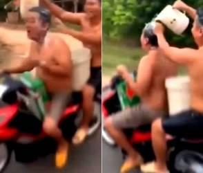 VIDEO: બાથરૂમમાં કરવાનું કામ આ લોકો ચાલુ બાઈકે કરતાં'તા, પોલીસે 10 હજારનો ચાંલ્લો કરી નાખ્યો