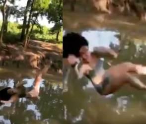VIDEO: ડંડો પકડીને પાણીમાં કૂદવા જતી હતી આ સુંદરી, એવી ભફાંગ થઈ કે ઈન્ટરનેટ પર ભારે મજાક બની