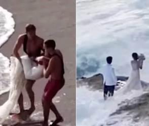 VIDEO: વેડિંગ ફોટોશૂટ વખતે જ્યાં જવાતું હોય ત્યાં જ જવું, નહીંતર આ કપલની જેમ જીવ બચાવવામાં ફાંફાં પડે
