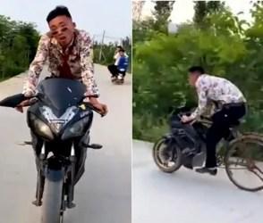 આ વીડિયો જોઇને તમે ખરેખર પેટ પકડીને હસી પડશો, જેને લોકોએ સમજ્યું ધાંસુ બાઇક પણ નીકળ્યું…
