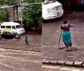 Video- મુંબઇમાં મુશળધાર વરસાદમાં આ મહિલાએ રસ્તા વચ્ચે જ 5 કલાક ઉભા રહીને કર્યું એવું કામ કે…