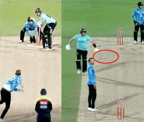 VIDEO: અરે પણ… આ ખેલાડીએ એવો ખતરનાક શોટ માર્યો કે, બેટ ભાંગી ગયું નેે હાથો જ હાથમાં રહ્યો