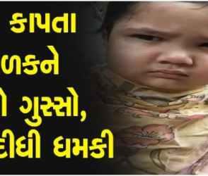 VIRAL VIDEO : વાળ કપાવતા નાના ક્યૂટ બાળકને આવ્યો ગુસ્સો, અચાનક વાળંદને આપી દીધી ધમકી